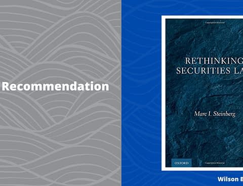 rethinking securities law book recommendation wilson bradshaw llp securities law firm