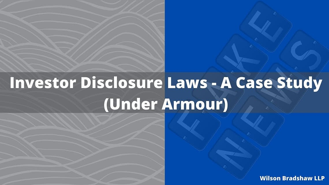 Investor Disclosure Laws - A Case Study by The Bradshaw Law Group - Securities Attorney Irvine, CA